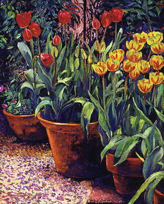 Traditional Still Life Painting - Spring Tulip Pots by David Lloyd Glover