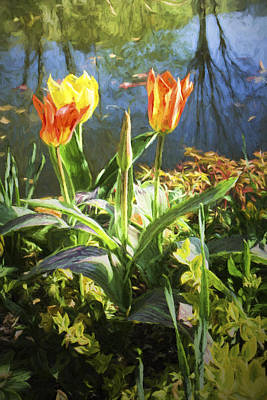 Photograph - Spring Tulips At Lakeside  In Giverny  by David Smith