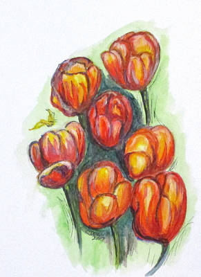 Painting - Spring Tulips by Clyde J Kell