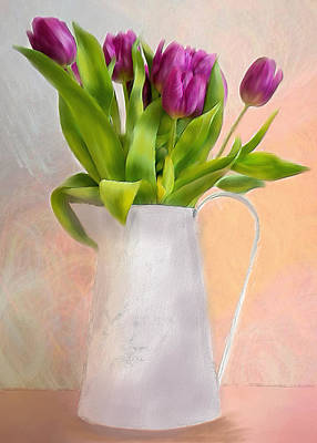 Mixed Media - Spring Tulips by Mary Timman