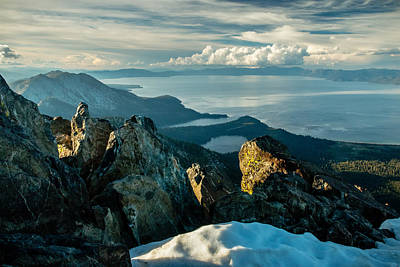 Lychens Photograph - Spring View From The Top Of Mount Tallac by Mike  Herron