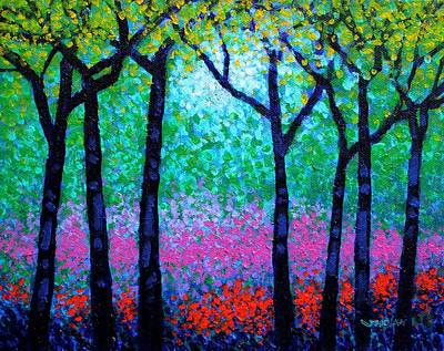 Greetings Card Painting - Spring Woodland by John  Nolan