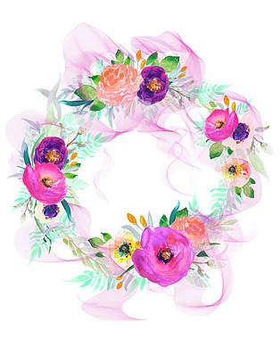 Purple Flowers Digital Art - Spring Wreath by Colleen Taylor
