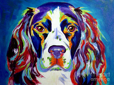 Colorful Dog Painting - Springer Spaniel - Cassie by Alicia VanNoy Call