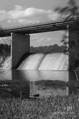 Photograph - Springfield Lake Dam Grayscale by Jennifer White