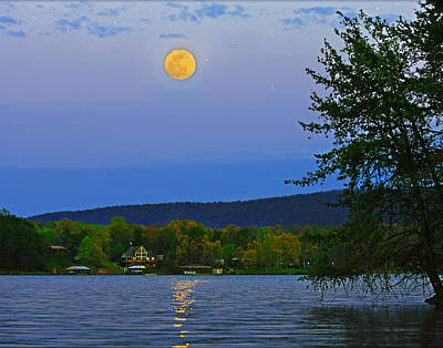 Spring's First Full Moon Smith Mountain Lake Art Print