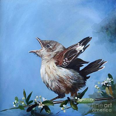 Painting - Spring's Promise - Mockingbird Baby by Suzanne Schaefer