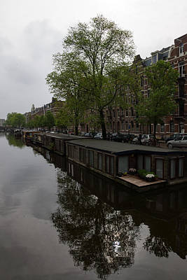 Photograph - Springtime Amsterdam - Boathouses And Miniature Gardens by Georgia Mizuleva