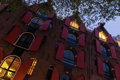 Photograph - Springtime Amsterdam - Bright Red Window Shutters In The Evening Breeze - Right by Georgia Mizuleva