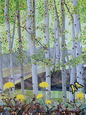 Found Objects Painting - Springtime Aspens by Stanza Widen