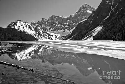 Photograph - Springtime At Chephren Lake Black And White by Adam Jewell