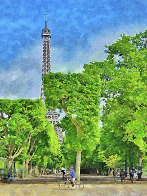 Digital Art - Springtime At The Eiffel Tower by Digital Photographic Arts