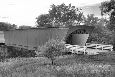 Photograph - Springtime At The Hogback Covered Bridge Black And White by Adam Jewell