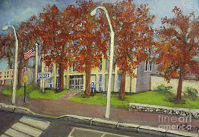 Waltham Painting - Springtime At Waltham Police Station by Rita Brown