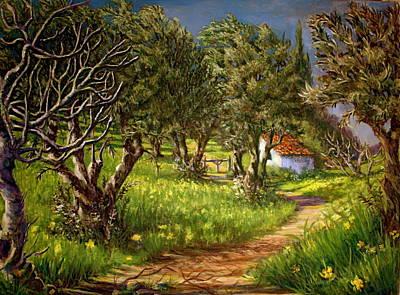 Yello Painting - Springtime In Skiathos by Yvonne Ayoub