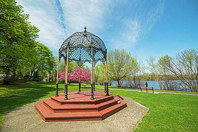 Photograph - Springtime On Eli Pond In Melrose, Ma Gazebo by Toby McGuire