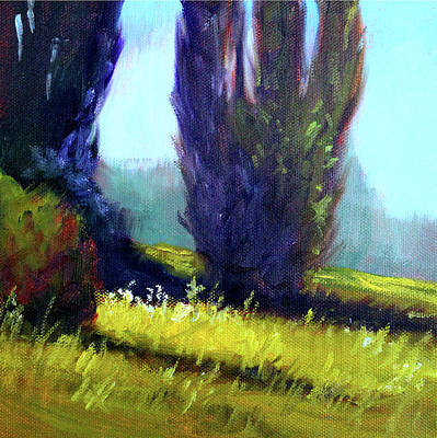 Painting - Springtime Poplar Hedge by Nancy Merkle