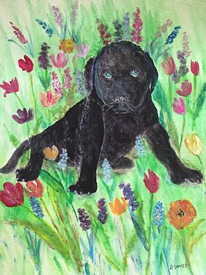 Painting - Springtime Pup by Anne Sands