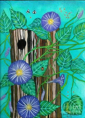 Springtime Purple Morning Glories Art Print by Janet Hinshaw