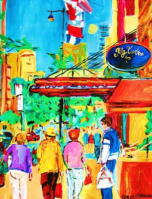 Sherbrooke Street Painting - Springtime Stroll by Carole Spandau