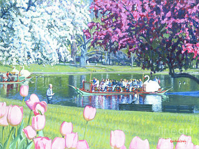 Painting - Springtime Swan Ride  by Candace Lovely