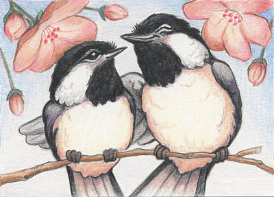 Animals Drawings - Springtime Sweethearts by Amy S Turner