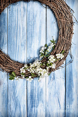 Garland Photograph - Springtime Wreath by Amanda Elwell