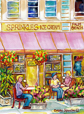 Painting - Sprinkles Ice Cream And Sandwich Shop Palm Beach Florida American Watercolor Street Scene C Spandau by Carole Spandau