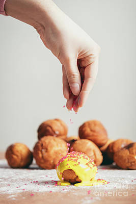 Photograph - Sprinkling Sugar Topping On Top Of A Doughnut. by Michal Bednarek