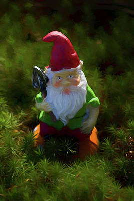 Photograph - Spritely Garden Gnome by Kathy Clark