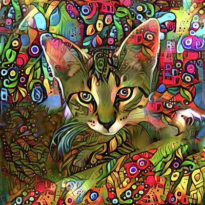 Mixed Media - Sprocket The Tabby Kitten by Peggy Collins