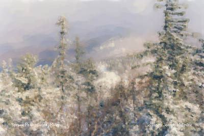 Snowscape Painting - Spruce Peak Summit At Sunday River by Bill McEntee