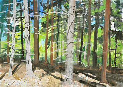 Painting - Spruce Trees In Sunshine,gouache Sketch by Martin Stankewitz
