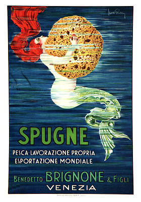 Royalty-Free and Rights-Managed Images - Spugne - Mermaid - Brignone Bath Sponge - Vintage Advertising Poster by Studio Grafiikka