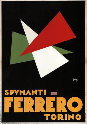 Mixed Media - Spumanti Ferrero, Torino - Champagne - Italian Wine - Minimal Vintage Advertising Poster by Studio Grafiikka
