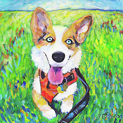 Painting - Spunky Corgi By Peggy Johnson by Peggy Johnson