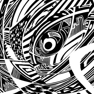 Spy Eye - Abstract Black And White Graphic Drawing Art Print by Nenad Cerovic