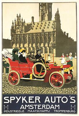 Mixed Media - Spyker Autos - Amsterdam - Vintage Automobile Advertising Poster by Studio Grafiikka