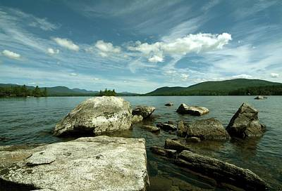 Squam Lake On The Rocks Art Print by Rick Frost
