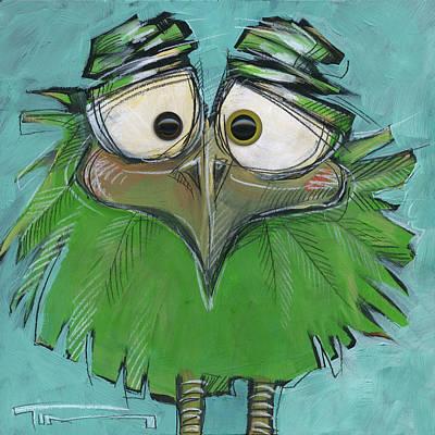 Square Bird 23 With Eyes Art Print