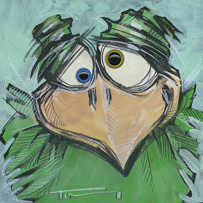 Cartoon Painting - Square Bird Number 11 With Eyes by Tim Nyberg