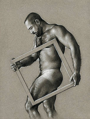 Male Nude Drawing Drawing - Square by Chris Lopez