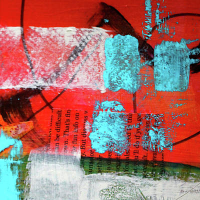 Red Abstract Art Mixed Media - Square Collage No. 10 by Nancy Merkle