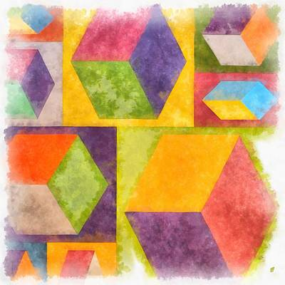 Yellow Painting - Square Cubes Abstract by Edward Fielding