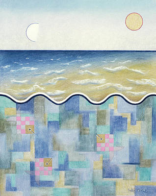 Square Fish And Sea Art Print by Sally Appleby