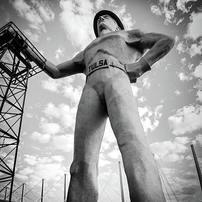 Photograph - Square Format Black And White Tulsa Driller And Clouds by Gregory Ballos