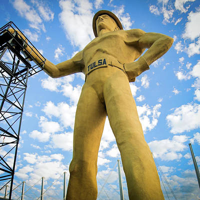 Photograph - Square Format Colorful Tulsa Driller And Clouds by Gregory Ballos