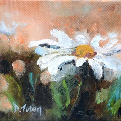 Daisy Painting - Square Format Daisy Painting by Donna Tuten