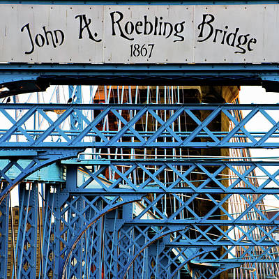Photograph - Square Format John A Roebling Bridge 1867 by Gregory Ballos