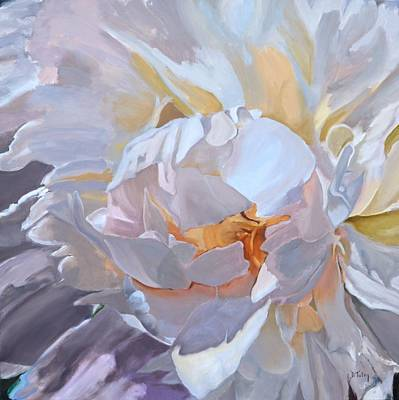 Painting - Square Format Peony Painting by Donna Tuten